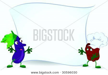Eggplant-and-bell-pepper-are-holding-promotion-board