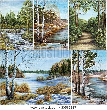 Set Siberian landscapes
