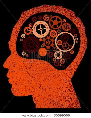 abstract head with cogs and gears.