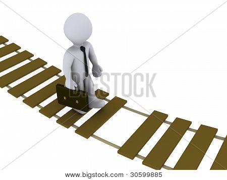 Businessman Walking On Damaged Bridge