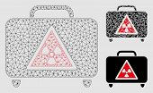 Mesh Dangerous Luggage Model With Triangle Mosaic Icon. Wire Carcass Polygonal Network Of Dangerous  poster