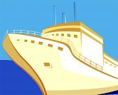 foto of cruise ship  - Illustration of a ship with brown hull at sea in blue background - JPG