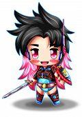 Kawaii Warrior Girl Character Anime Chibi, Illustration. poster