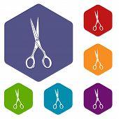 Sharp Scissors Icon. Simple Illustration Of Sharp Scissors Vector Icon For Web poster