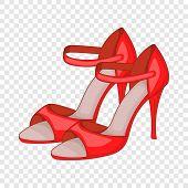 Red Woman Tango High Heels Icon. Cartoon Illustration Of Red Woman Tango High Heels Vector Icon For  poster