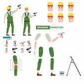 Industrial Construction Worker, Assembly Worker, Installer Profession Worker Character For Animation poster