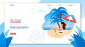 Landing Page Template With Have Good Summer Wish. Online Travel Agency Homepage. Vector Cartoon Woma poster