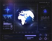 Hi-tech Digital Abstract Background Display Holographic Earth. Futuristic User Interface Hud And Inf poster