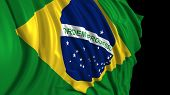 3d Rendering Of A Brazilian Flag. The Flag Develops Smoothly In The Wind. Wind Waves Spread Over The poster