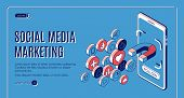 Social Media Marketing Isometric Web Banner. Influencer Concept With Magnet Attracting Likes, Feedba poster