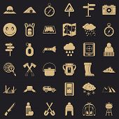 Mountain Tourism Icons Set. Simple Set Of 36 Mountain Tourism Vector Icons For Web For Any Design poster