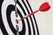 Dart Hit Target Close-up. Well-aimed Hit. Winning The Competition. Success In Business. Achievement  poster