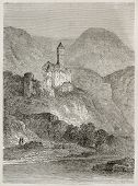 Zwingenberg castle and Neckar river old view, Germany. Created by Stroobant, published on Le Tour Du