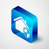 Isometric House Under Protection Icon Isolated On White Background. Home And Shield. Protection, Saf poster