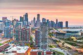 Chicago, Illinois, USA skyline on Lake Michigan at dawn. poster