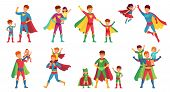 Cartoon Father Superhero. Happy Fathers Day, Super Parent With Kids And Hero Dad Vector Illustration poster