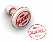 Xxxl Size. Seal And Imprint. Red Seal And Red Print Xxxl Size On White Surface. Isolated. 3d Illustr poster