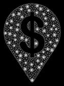 Bright Mesh Dollar Map Pointer With Glare Effect. Abstract Illuminated Model Of Dollar Map Pointer I poster