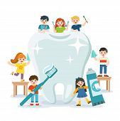 Group Of Smiling Boys And Girls Standing Next To Big White Tooth Holding Toothbrush Showing Healthy  poster