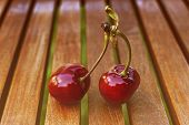 Cherry With Leaf And Stalk. Cherries With Leaves And Stalks. Big Variety Of Cherries. Varieties: Fri poster