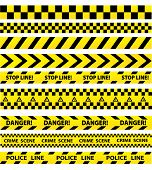 Black And Yellow Police Stripe Border, Construction, Danger Caution Seamless Tapes Vector Set poster