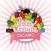 Organic Ice Cream Summer Natural Fresh And Cold Sweet Food Vector Illustration. Healthy Homemade Tas poster