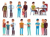 Doctors And Patients. Medicine Office Staff Hospital Diagnosis Treatment Patient Clinic Doctor Nurse poster