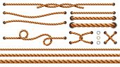 Set Of Isolated Straight Ropes And Tied Cross Strings, Realistic Navy Thread Through Metallic Holes. poster