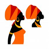 Portrait Beautiful African Woman In Traditional Turban. Face Woman Silhouette Icon Vector. Black Wom poster