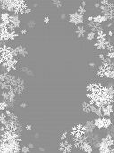 Winter Snowflakes Border Simple Vector Background.  Macro Snowflakes Flying Border Design, Holiday B poster