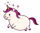 Cute Fat Unicorn Simple Doodle Cartoon Character Vector Illustration. Simple Flat Line Icon Isolated poster