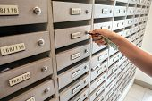 Close-up Woman Hand Insert A Key To Unlock Mailbox Locker In Apartment, Interior Letterbox Cabinet I poster