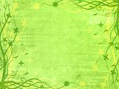 picture of lined-paper  - Green frame with floral patterns and splashes - JPG