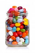 stock photo of jar jelly  - Jelly beans sugar candy snack in a jar isolated on white - JPG