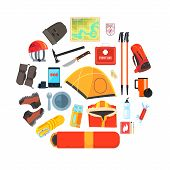 Expedition Equipment Set, Hiking, Camping And Mountaineering Tools, Tourism, Expedition Symbols Vect poster
