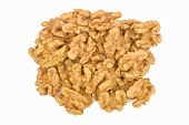Pile Of Walnuts Isolated On White Background. Walnut Without Shell Close-up Top View. Nuts Collectio poster