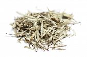White tea. Closeup of chinese silver needle hair down white tea of premium luxury quality. Bai Hao Y