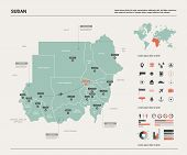 Vector Map Of Sudan. Country Map With Division, Cities And Capital Khartoum. Political Map,  World M poster