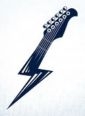 Electric Guitar Headstock In A Shape Of Lightning, Hot Rock Music, Hard Rock Or Rock And Roll Concer poster