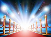 foto of balustrade  - A grand entrance with red carpet velvet rope and photographers flash lights going off - JPG
