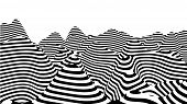 Optical Illusion Wave. Abstract 3D Black And White Illusions. Horizontal Lines Stripes Pattern Or Ba poster