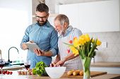 Adult Hipster Son And Senior Father Indoors In Kitchen At Home, Using Tablet. poster