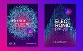Sound Flyer. Futuristic Show Magazine Set. Dynamic Gradient Shape And Line. Neon Sound Flyer. Electr poster