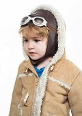 Child Playing Pilot In Hat, Glasses&bomber Jacket. Pilot Or Aviator Concept. Dreams Of Travel! Boy P poster