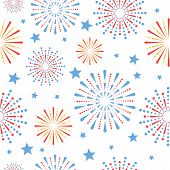 Festive Seamless Pattern Of American Independence Day Fireworks, 4th Of July. Vector poster
