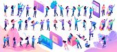 Large Set Of Isometric Teenagers In Bright Clothes With Different Poses And Gestures. Website And Mo poster