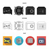 Vector Illustration Of Safe And Open Symbol. Collection Of Safe And Container Vector Icon For Stock. poster
