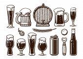 Vintage Set Of Beer Objects. Old Wooden Mug, Barrel, Glasses, Hop, Bottle, Can, Opener, Cap. Engravi poster