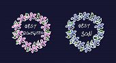 Sketch Wreath. Careless Drawing. Pink And Blue Flowers. Green Leaves. White Stroke. The Inscription  poster