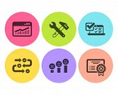 Online Survey, Survey Progress And Website Statistics Icons Simple Set. Customer Satisfaction, Spann poster